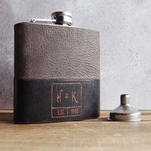 Customised Monogram Leather Hip Flask - hip flasks