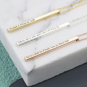 Personalised Shiny Vertical Bar Necklace - jewellery gifts for friends