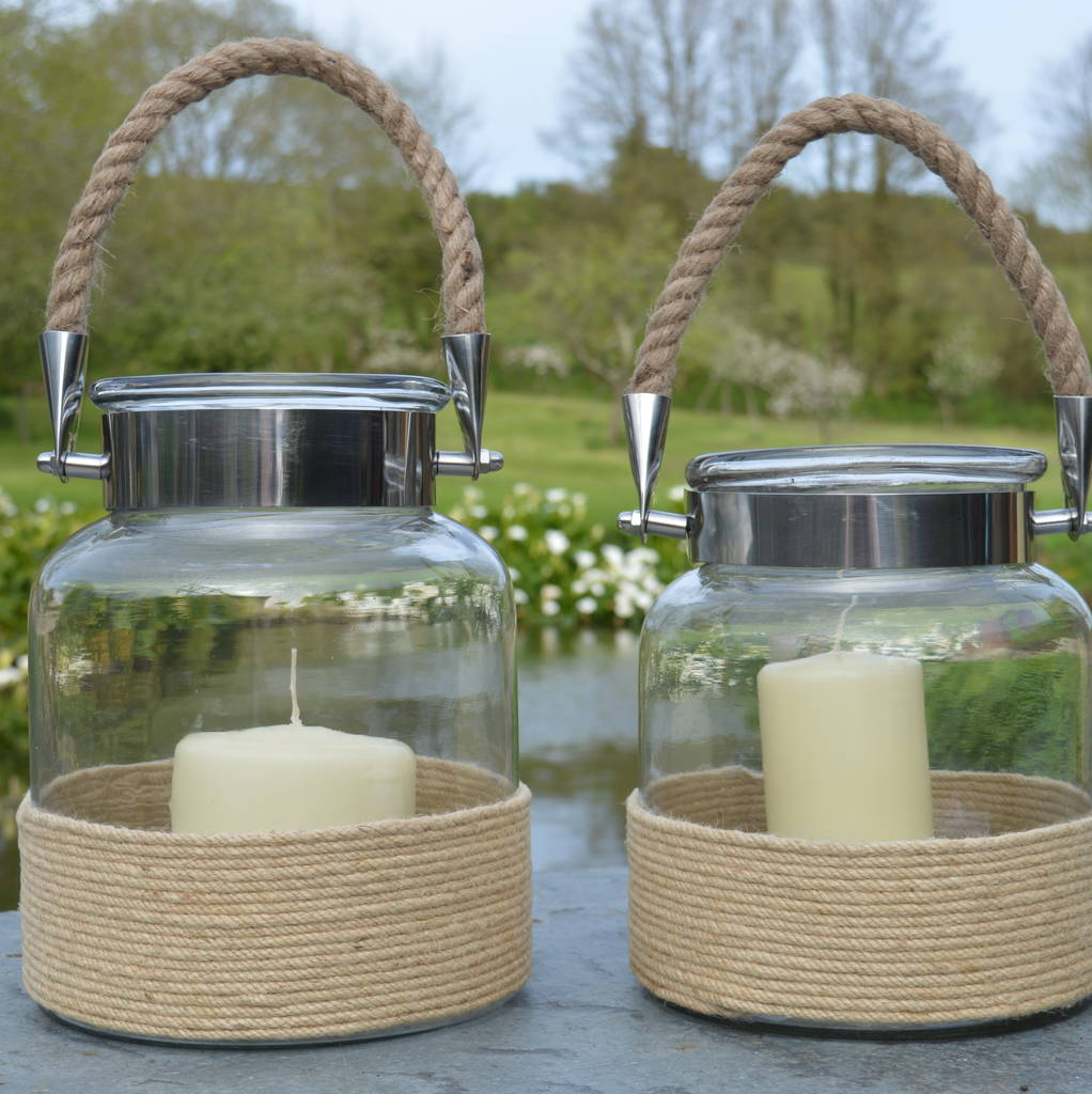 Glass Jar Candle Lantern With Rope Handle By Za Za Homes ...