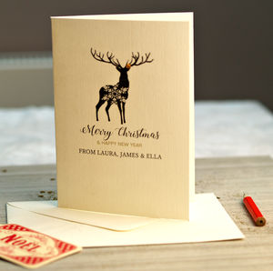 Christmas Personalised Stag Cards Pack - cards & wrap