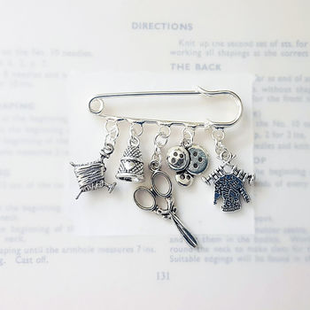 Personalised Knitting Brooch