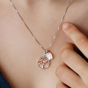 Personalised Silver And Rose Gold Tree Of Life Necklace