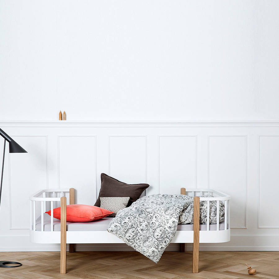 Luxury Wood Toddler Bed In White By Cuckooland