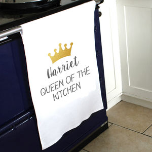 Personalised Queen Tea Towel - gifts for her