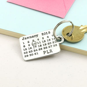 Personalised Pewter Calendar Keyring - mens
