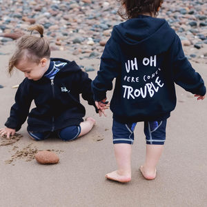 Uh Oh Here Comes Trouble Zipped Hoodie - clothing