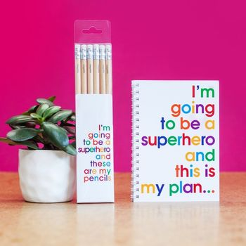 Superhero Notebook And Pencils Gift Set