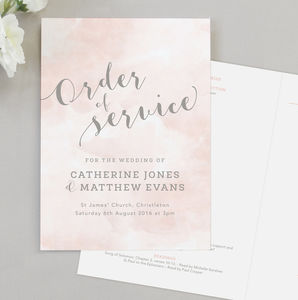 Romance Wedding Order Of Service Four Page Booklet