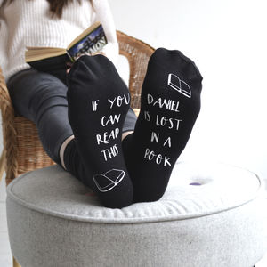 Personalised Lost In A Book Reading Socks