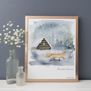 Fox In The Snow Watercolour Print *Limited Edition* - christmas home accessories