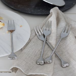 Silver Heart Cake Forks Set - kitchen