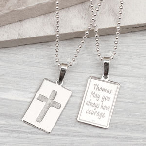 Boys Personalised Sterling Silver Christening Necklace