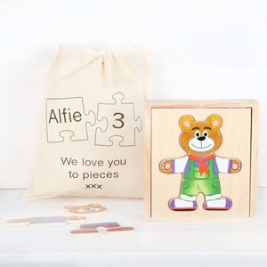 Wooden Bear Puzzle With Personalised Cotton Bag - baby's first christmas