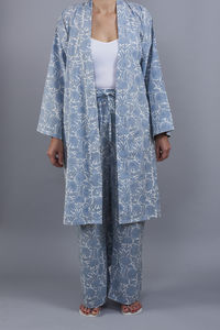 Amritsar Floral Design Pj Trousers In Chambray Blue