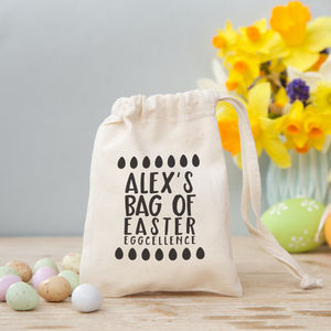 Personalised Easter Bag With Sweets Or Chocolate