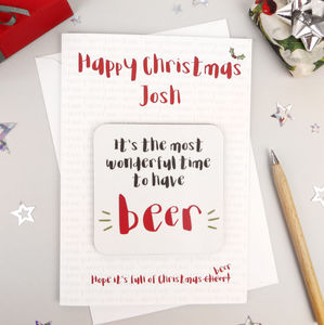Beer Lovers Christmas Card With Coaster - cards