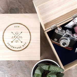 'Our Adventure Box' Wooden Memory Box - keepsake boxes
