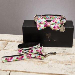 The Clifton Floral Dog Collar Bow Tie And Lead Set - dog collars