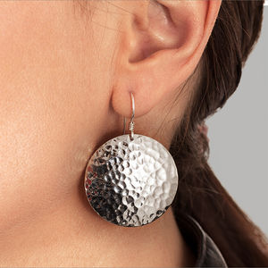 Hammered Solid Silver Earrings