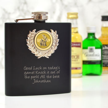 Personalised Hip Flask With A Cricket Design