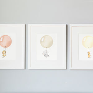 Set Of Three Safari Balloon Nursery Prints - baby's room