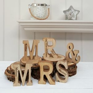 Mr And Mrs Engraved Wood Letters - decorative accessories