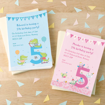Personalised Fifth Birthday Party Invitations