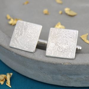 Personalised Fingerprint Square Cufflinks - men's accessories