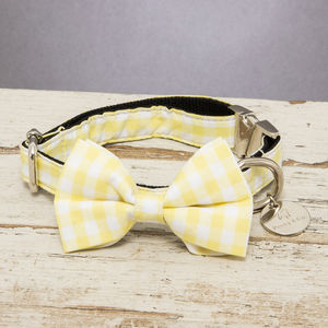 The Hampstead Yellow Checked Dog Collar Bow Tie - pet collars