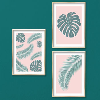Set Of Three Tropical Palm Leaf Prints