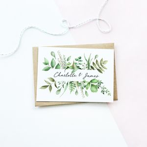 Personalised Botanical Wedding Card - wedding cards
