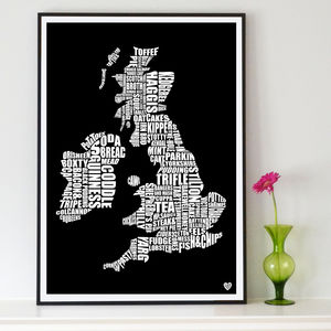 British Gastronomy Map Print - gifts for foodies