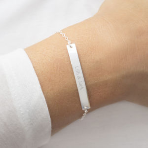 Personalised Sterling Silver Bar Bracelet - flower girl jewellery