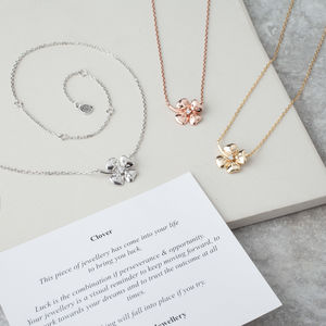Clover Four Leaf Necklaces With Stem