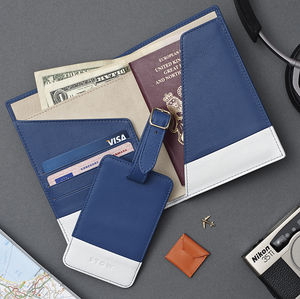 Luxury Leather Passport Wallet And Luggage Tag Gift Set - wallets & money clips