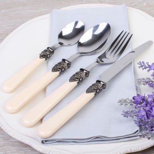 24 Piece Antique Cream French Cutlery