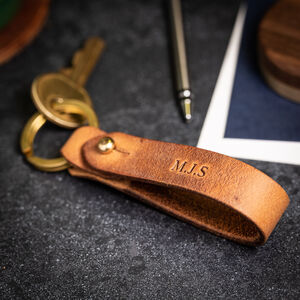 'Austin' Personalised Leather Loop Keyring