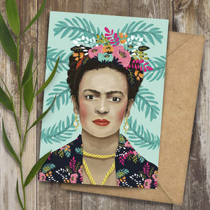 Frida Kahlo Portrait Illustration Art Greeting Card