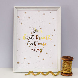 Gold Foil 'First Breath' Nursery Print - pictures & prints for children