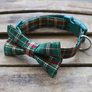 Festive Tartan Dog Bow Tie - dog collars