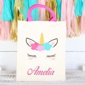 Personalised Girls Unicorn Canvas Bag With Rope Handles