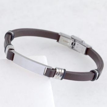 Men's Brown Leather And Stainless Steel Plaque Bracelet