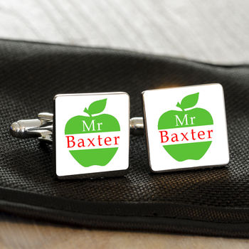 Personalised Thank You Teacher Apple Cufflinks