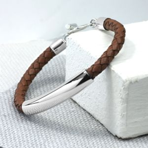 Leather And Silver ID Bracelet - women's jewellery