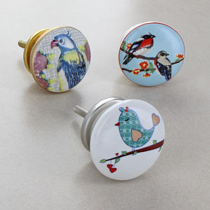 Birds Ceramic Door Knobs Cupboard Pull Handles - home accessories