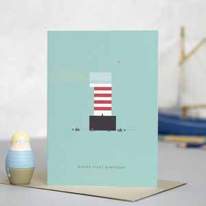 'Lighthouse' First Birthday Card