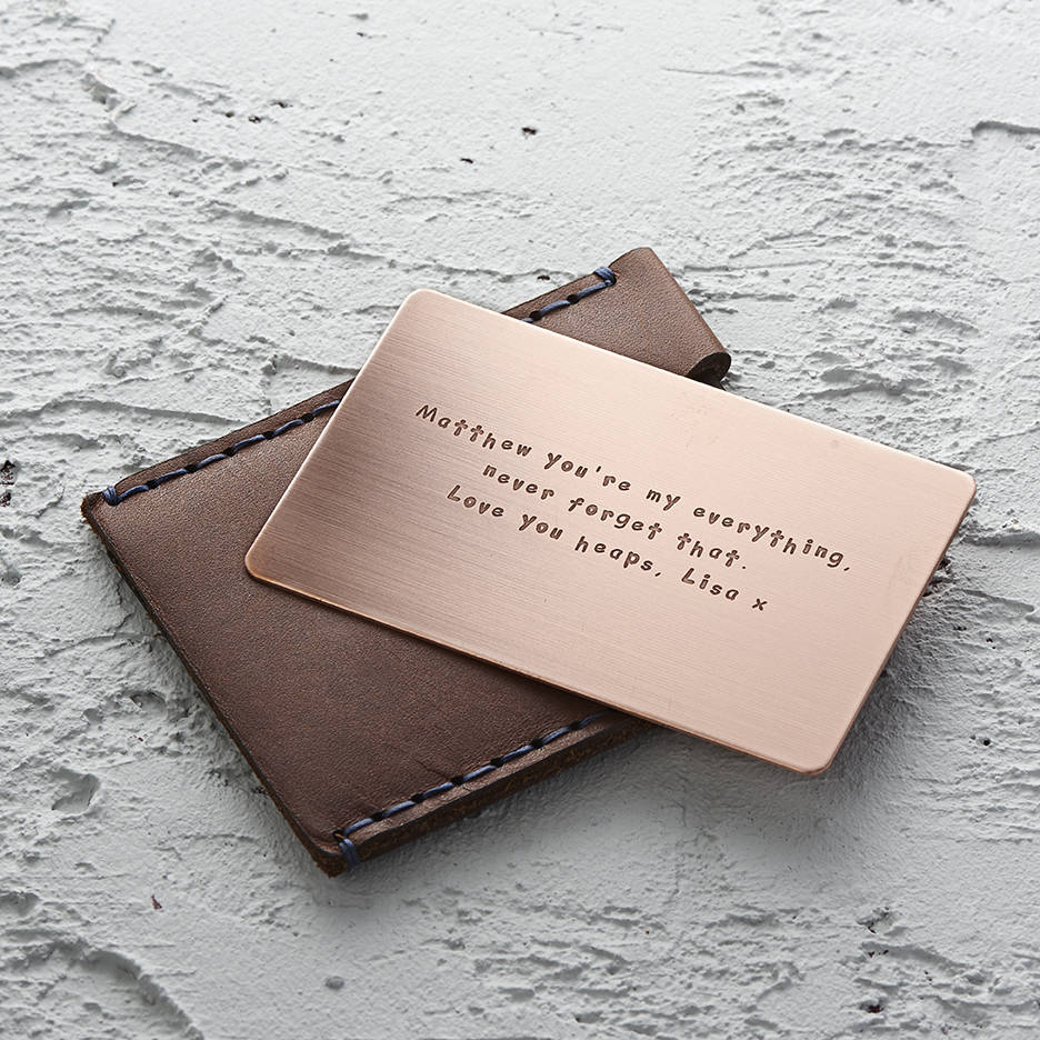 personalised metal wallet insert card by metal moments ...
