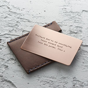 Personalised Metal Wallet Insert Card - for him