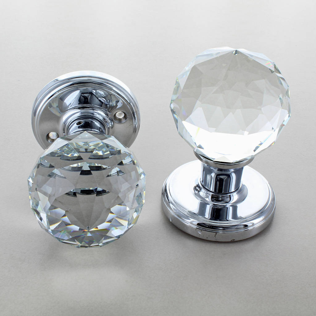 round crystal faceted clear glass mortice door knobs by g decor ...