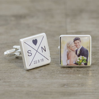 Personalised Initials, Date And Photo Wedding Cufflinks
